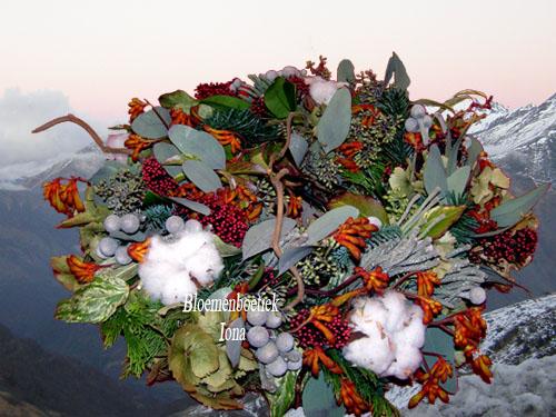Verassende kerstkrans/bloemenwinkel