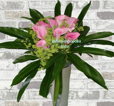 Zantedeschia boeket met vaas/flowers with love