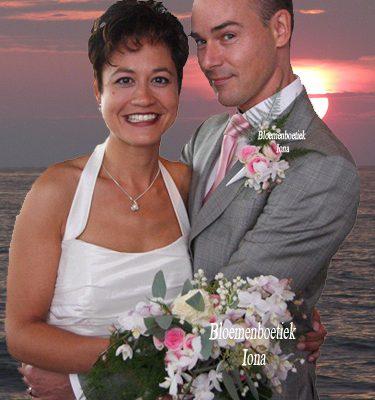 Bruidsboeket en Corsage wit roze Overveen