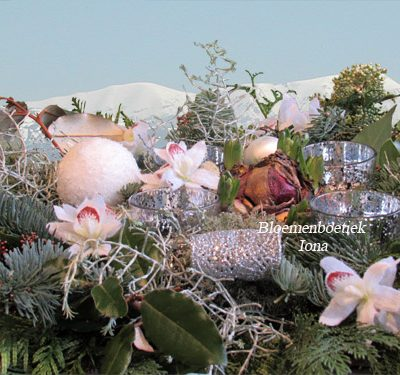 Kerststuk met amaryllis bollen bij Bloemenboetiek Iona