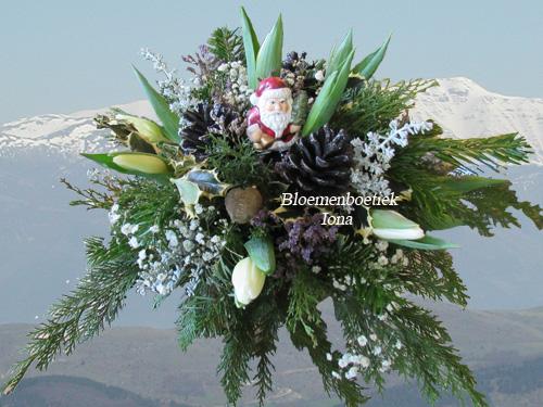 Tulpen kerstbloemstuk bestellen Santpoort