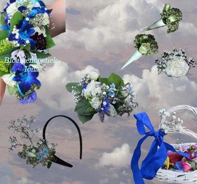 blauw trouwbloemen