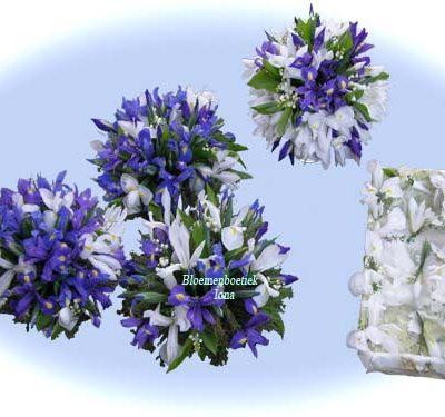 Iris trouwboeket, Corsages en tafelbloemstukken